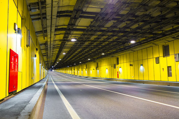 modern tunnel for road vehicles transportation