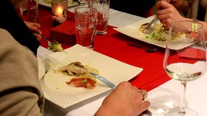 people eat food - restaurant - closeup (hands)