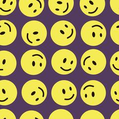 Yellow mugs smilies seamless texture