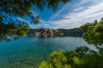 St. Marija monastery on island in national park Mljet