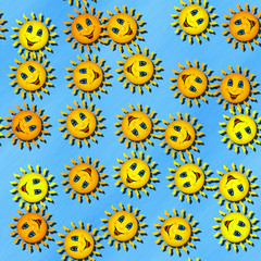 Happy sun generated seamless texture