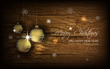 Christmas background with baubles, wallpaper for greeting card
