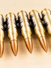 Machine gun bullet chain close-up