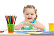 lovely child drawing with colorful pencils
