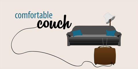 comfortable couch with tv