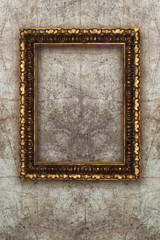 old picture frame handmade wood on wall ruined background