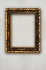 antique picture frame handmade wood isolated on wall
