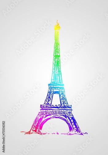 Paris art design illustration - 73536382