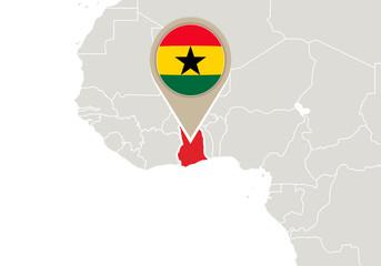 Ghana on World map