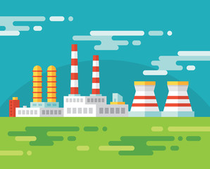 Industrial factory building - vector illustration in flat style