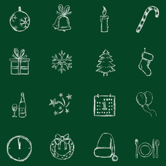 Vector Set of Chalk Christmas and New Year Icons