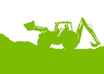 Excavator loader digging at industrial construction site vector