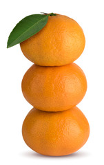 tangerines with green leaf