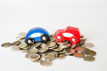 coins and car