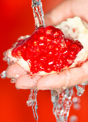 Ripe red pomegranate in her hand in water