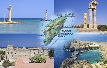 Rhodes island and Rhodes city in collage