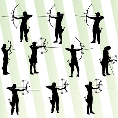 Active young archery sport silhouettes abstract background vecto
