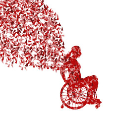 Woman in wheelchair vector background disabled people