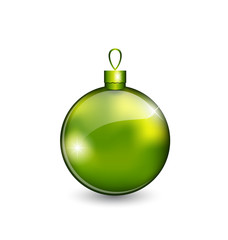 Christmas green ball isolated on white background
