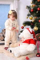 toddler girl in christmas interior