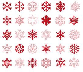Viele rote Schneeflocken