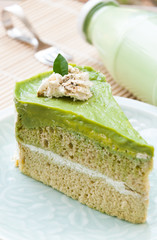 Japanese Matcha Green tea cake, tea and cake