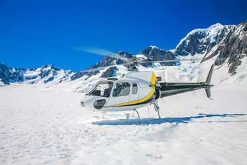 Helicopter with winter landscape
