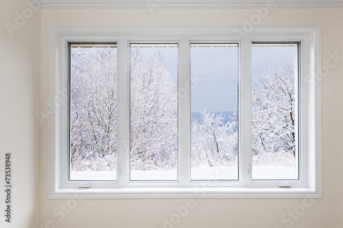 canvas print picture Window with view of winter trees