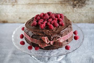 Chcolate and raspberry cake with ganache, birthday dessert