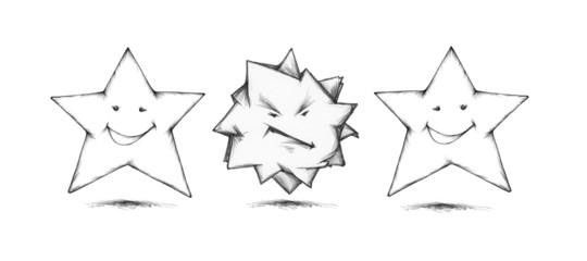 Drei Sterne in Stimmung