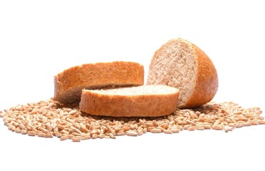 Slices of bread over grains of wheat