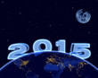 2015 new year, earth and moon in night sky