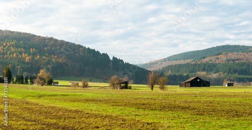 canvas print picture Blick über die Wiesen am NSG Gelängebachtal in Medebach