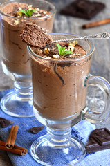 Chocolate mousse in a glass.