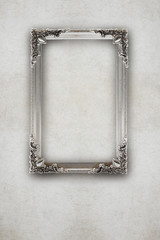 old silver picture frame on the wall effects ruined background