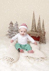 Christmas Baby in fake snow with trees and cones