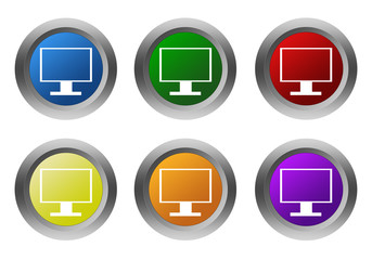 Set of colorful icons with tv screen of computer monitor symbol