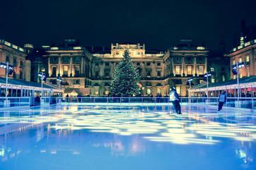 Ice rink with huge christmas tree