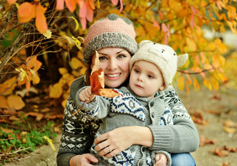 mother and son in fall
