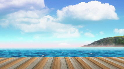 Planks of the Pier on the Beach of Sea. Time-lapse of Clouds.