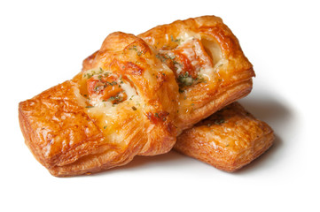 Danish pastries with pork sausage