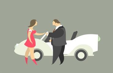 Man And Woman Near The Car