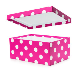 pink gift box with white polka dots