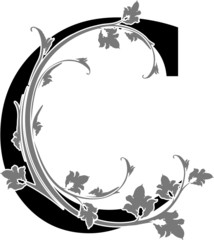 "Letter ""C"" with floral branch"
