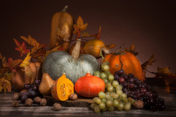 pumpkins, grapes and nuts