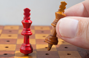 wooden chess kings.