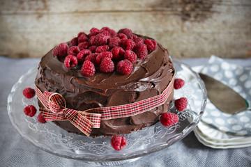 Coffee and milk chocolate ganache cake with raspberry jam