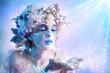 canvas print picture - Winter portrait  blowing snowflakes