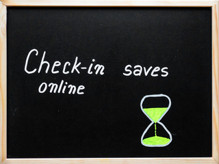 Check-in online saves time message written on blackboard