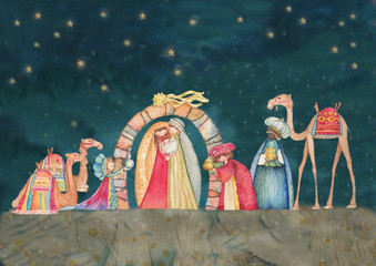 Christian Christmas Nativity scene with the three wise men